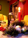 New-year composition with candle and champagne Royalty Free Stock Photos