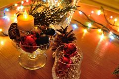 New year composition and Christmas decoration Stock Photos