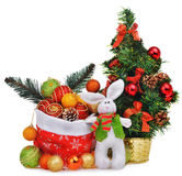 New year composition with christmas tree santa claus bag and toys Stock Images