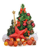 New year composition with christmas tree toys and red star Royalty Free Stock Photography