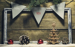 New Year composition with decorations old frame Royalty Free Stock Photography