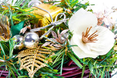 New Year composition with flower and beads Stock Photos