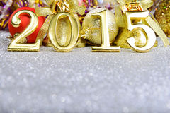 New year composition with gold numbers 2015 year Royalty Free Stock Photos