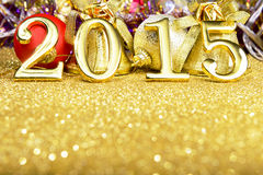 New year composition with gold numbers 2015 year Stock Photos