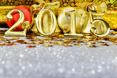 New year composition with gold numbers 2015 year Royalty Free Stock Images
