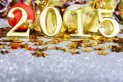 New year composition with gold numbers 2015 year Royalty Free Stock Image