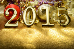 New year composition with gold numbers 2015 year Stock Photography