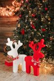 New Year composition. Holiday decorations, christmas reindeer Royalty Free Stock Photos