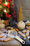 New Year composition. With number 2017,new year tree, biscuits, sugar, cinnamon sticks and chocolate candies Royalty Free Stock Images