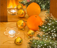 New year composition with orange and gold Christmas balls Stock Photo