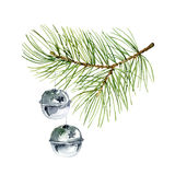 New Year composition of pine branches and balls. Christmas composition of fir branches and balls. Watercolor illustration Stock Image