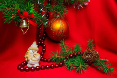 New Year composition. Snowman on the background of fir branches Stock Photo