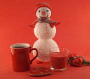 New Year composition with snowman  hand-made Stock Image