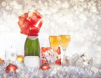 New Year Composition With Champagne Royalty Free Stock Image
