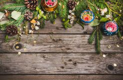 New Year composition of dried fruits on a wooden table. Christmas background. Flat lay.Top view Royalty Free Stock Photos