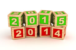 New Year 2015 and 2014. (computer generated image Royalty Free Stock Photo