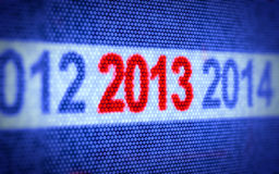 New Year concept. 3d illustration od digital display with red 2013 Year Royalty Free Stock Images