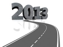 New year concept. Grey car road with number 2013, 3d image Stock Photo