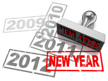 New year concept. 3d illustration of stamp with year numbers, and red stamp with text new year Royalty Free Stock Image