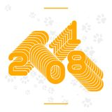 New Year concept banner. Repeating numbers 2018. New Year concept banner vector illustration with traces of dog`s paws. Greeting card for party or greetings Royalty Free Illustration