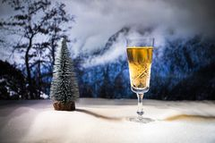 New Year concept with champagne cork royalty free stock photography