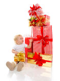 New year 2016 concept child baby toddler kid with Christmas pres Stock Photography