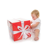 New year 2016 concept child baby toddler kid with Christmas pres Royalty Free Stock Photo