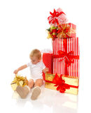 New year 2016 concept child baby toddler kid with Christmas pres Stock Photo
