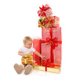 New year 2016 concept child baby toddler kid with Christmas pres Royalty Free Stock Images