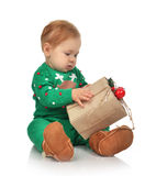 New year 2016 concept child baby toddler kid with rustic Christm Royalty Free Stock Photography