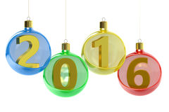 New Year 2016 concept with christmas balls Stock Image
