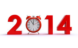 New year 2014. Concept with a clock and 3d text Royalty Free Stock Photo
