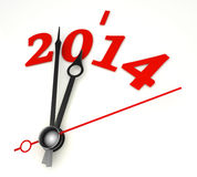 New year 2014 concept clock hands closeup. On whte background Stock Photography
