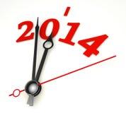 New year 2014 concept clock hands closeup Stock Photography