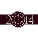 New year 2014 concept with clock. New year 2014 with clock instead number zero vector illustration