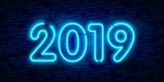 2019 New Year Concept with Colorful Neon Lights. Retro Design Elements for Presentations, Flyers, Leaflets, Posters or Postcards. 2019 New Year Concept with Royalty Free Stock Photos