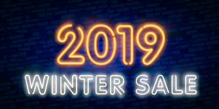 2019 New Year Concept with Colorful Neon Lights. Retro Design Elements for Presentations, Flyers, Leaflets,. Posters or Postcards royalty free illustration