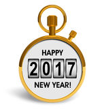 New Year 2017 concept. Creative abstract New Year 2017 beginning celebration concept: 3D render illustration of golden stopwatch with Happy New Year 2017 stock illustration