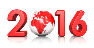 New Year 2016 concept. Creative abstract New Year 2016 beginning celebration concept with red glossy Earth globe isolated on white background with reflection royalty free illustration