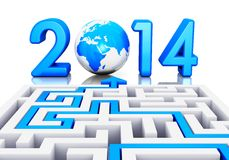New Year 2014 concept. Creative abstract New Year 2014 business office communication concept: path across labyrinth to 2014 year with blue Earth globe isolated Royalty Free Stock Images
