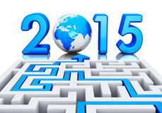 New Year 2015 concept. Creative abstract New Year 2015 business office communication concept: path across labyrinth to 2015 year with blue Earth globe isolated Royalty Free Stock Image