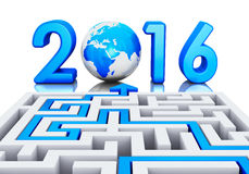 New Year 2016 concept. Creative abstract New Year 2016 business office communication concept: path across labyrinth to 2016 year with blue Earth globe isolated Stock Images