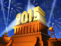 New Year 2015 concept. Creative abstract New Year 2015 celebration concept: shiny golden 2015 text on pedestal at night with fireworks in cinema style Stock Image