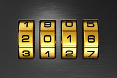 New Year 2016 concept. Creative abstract New Year 2016 concept: macro view of combination lock with 2016 code text Royalty Free Illustration