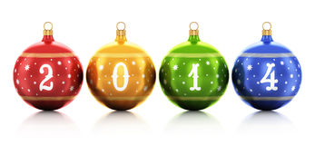New Year 2014 concept. Creative abstract New Year 2014 and Xmas celebration concept: group of color shiny metallic glass Christmas balls with 2014 text numbers Stock Illustration