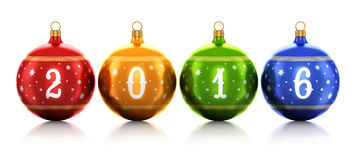 New Year 2016 concept. Creative abstract New Year 2016 and Xmas celebration concept: group of color shiny metallic glass Christmas balls with 2016 text numbers Royalty Free Stock Photo