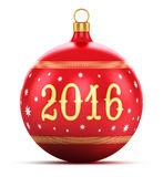 New Year 2016 concept. Creative abstract New Year 2016 and Xmas celebration concept: red color shiny metallic glass Christmas ball with colorful star decoration stock illustration
