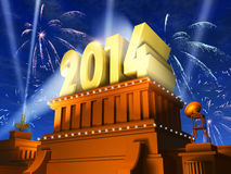 New Year 2014 concept. Creative New Year 2014 celebration concept: shiny golden 2014 text on pedestal at night with fireworks in cinema style stock illustration