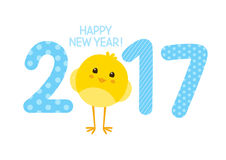 2017 New Year concept. With cute chicken Royalty Free Stock Photos