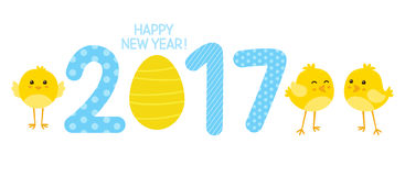 2017 New Year concept. With cute chickens Royalty Free Stock Images